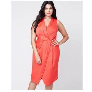 New $159 RACHEL ROY Plus Size Red Faux-Wrap Dress